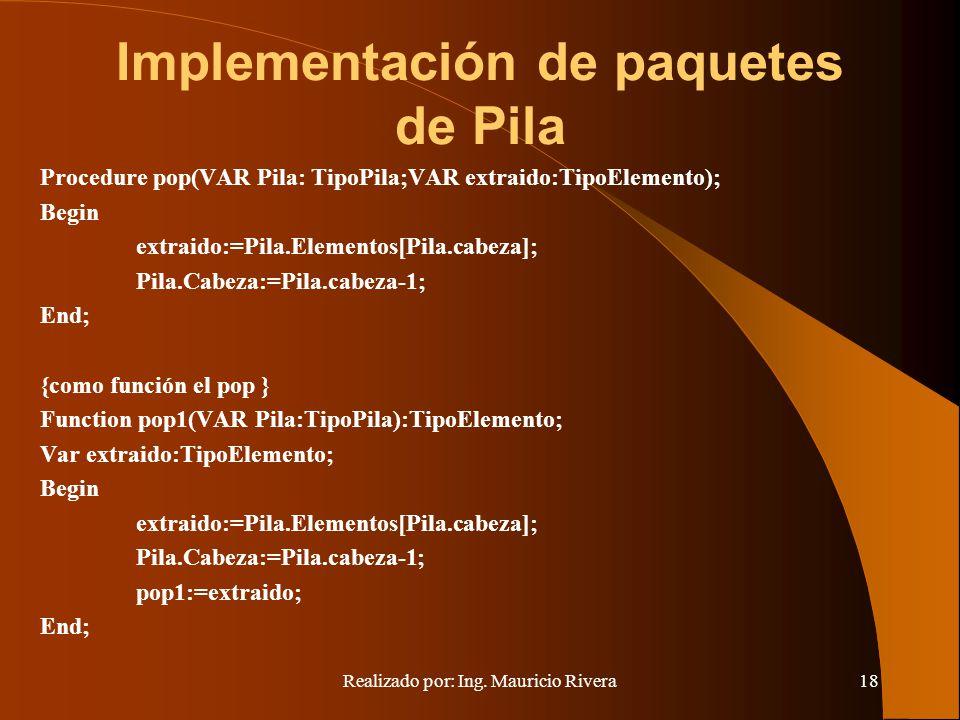 Implementación de paquetes de Pila