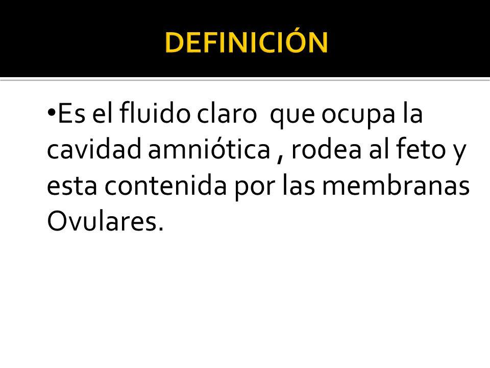 DEFINICIÓN Es el fluido claro que ocupa la cavidad amniótica , rodea al feto y esta contenida por las membranas Ovulares.