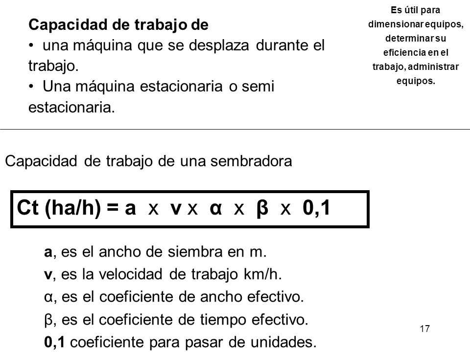 Ct (ha/h) = a x v x α x β x 0,1 Capacidad de trabajo de