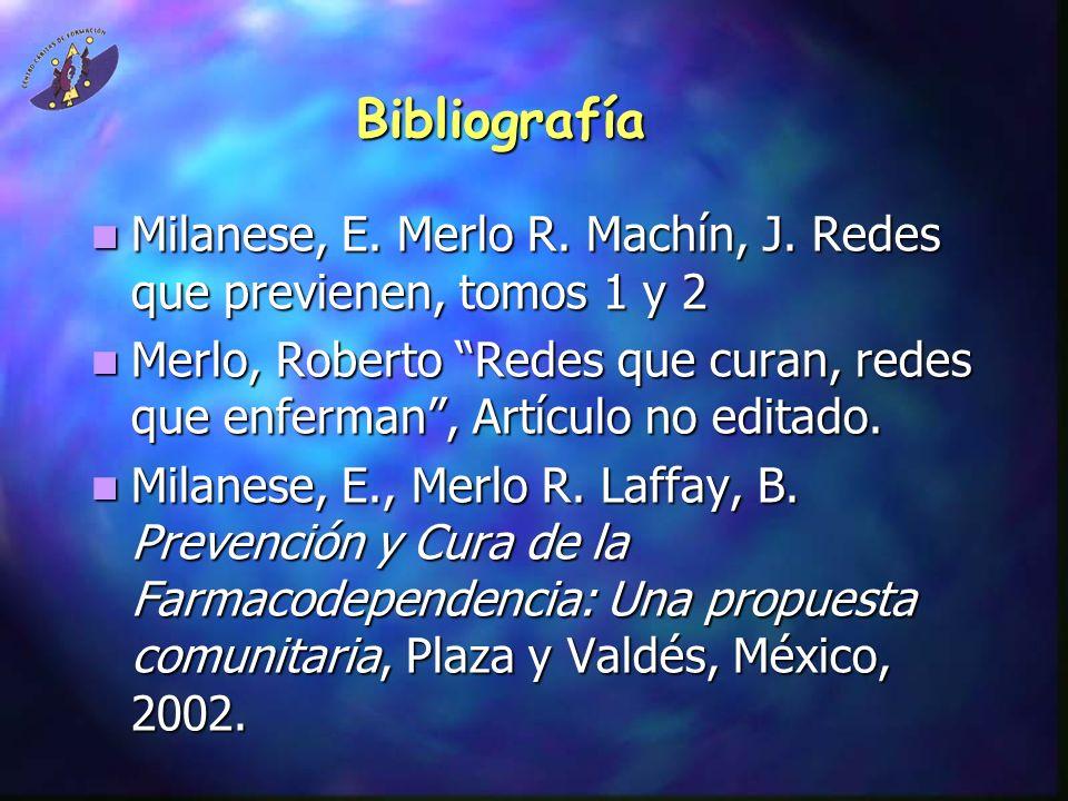 BibliografíaMilanese, E. Merlo R. Machín, J. Redes que previenen, tomos 1 y 2.