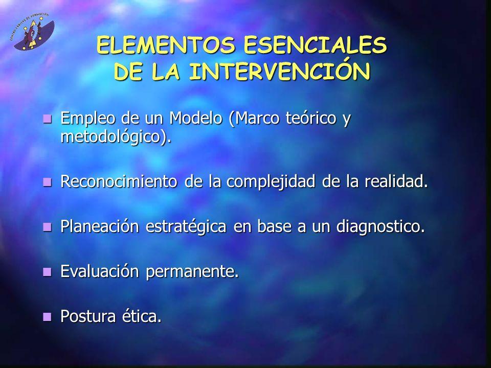 ELEMENTOS ESENCIALES DE LA INTERVENCIÓN
