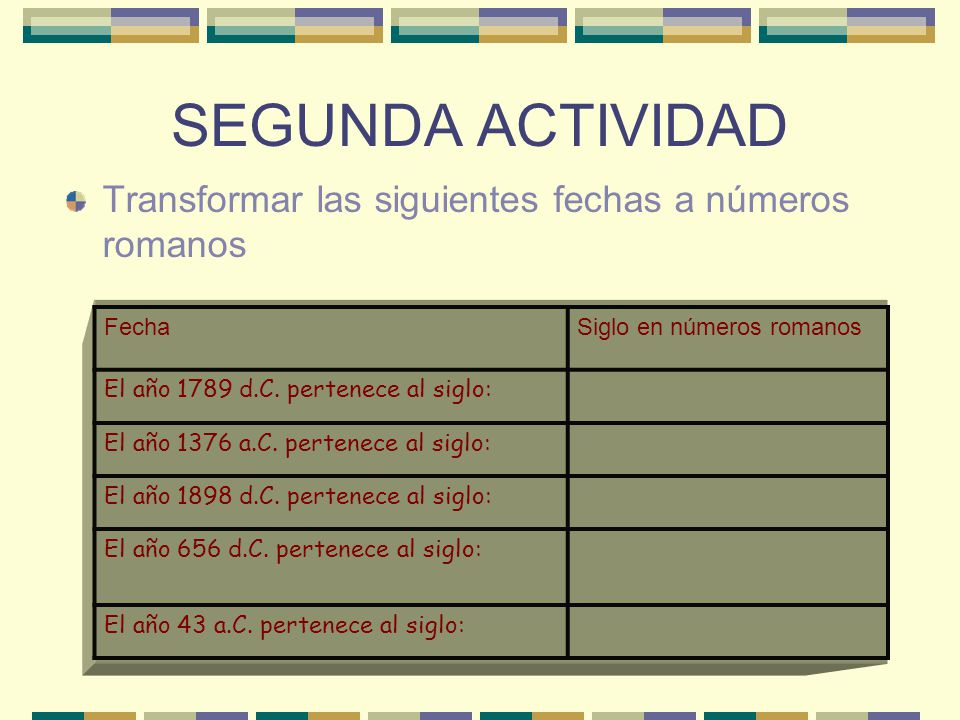 SEGUNDA ACTIVIDAD Transformar las siguientes fechas a números romanos