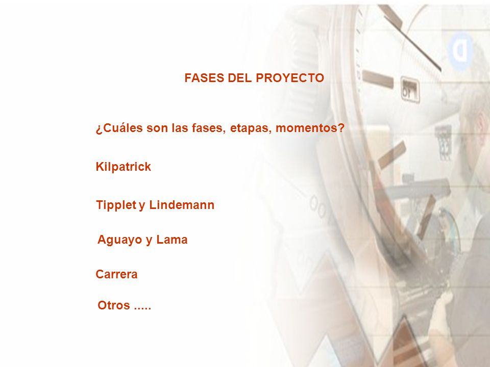 FASES DEL PROYECTO ¿Cuáles son las fases, etapas, momentos Kilpatrick. Tipplet y Lindemann. Aguayo y Lama.