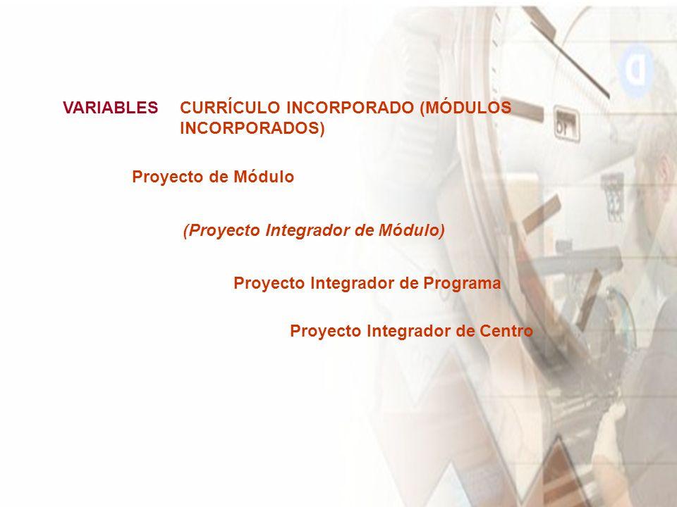 VARIABLES CURRÍCULO INCORPORADO (MÓDULOS INCORPORADOS) Proyecto de Módulo. (Proyecto Integrador de Módulo)