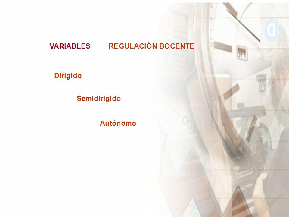 VARIABLES REGULACIÓN DOCENTE Dirigido Semidirigido Autónomo