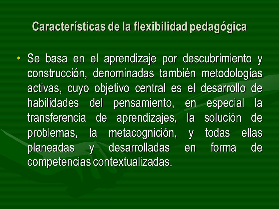 Características de la flexibilidad pedagógica