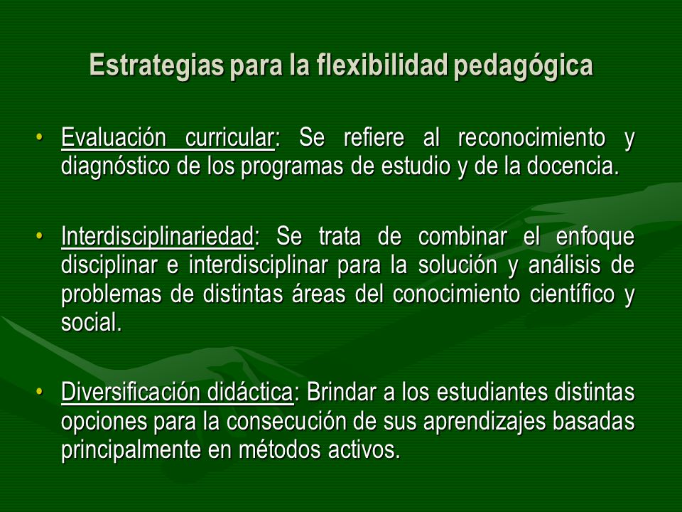 Estrategias para la flexibilidad pedagógica