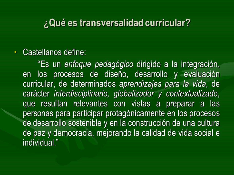 ¿Qué es transversalidad curricular