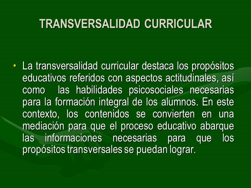 TRANSVERSALIDAD CURRICULAR