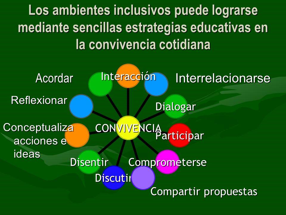Los ambientes inclusivos puede lograrse mediante sencillas estrategias educativas en la convivencia cotidiana