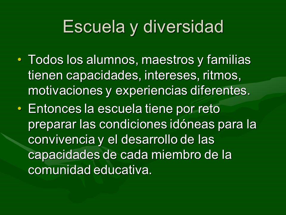 Escuela y diversidad Todos los alumnos, maestros y familias tienen capacidades, intereses, ritmos, motivaciones y experiencias diferentes.