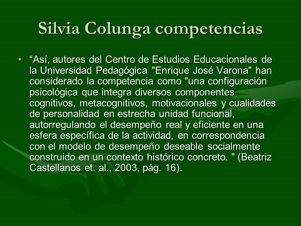 Silvia Colunga competencias