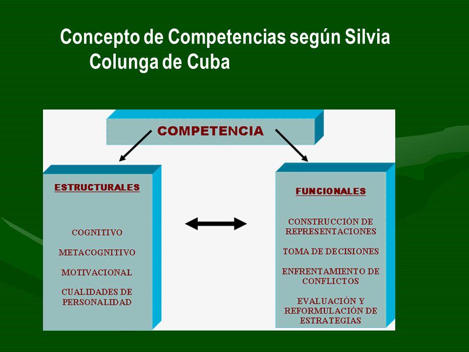 Concepto de Competencias según Silvia Colunga de Cuba