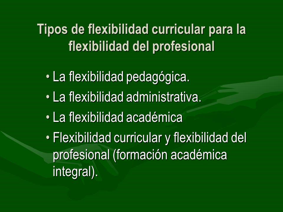 Tipos de flexibilidad curricular para la flexibilidad del profesional