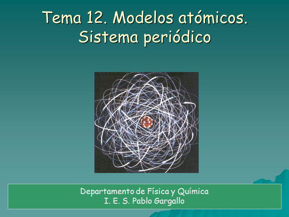 Tema 12. Modelos atómicos. Sistema periódico