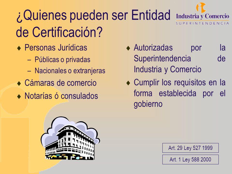 ¿Quienes pueden ser Entidad de Certificación