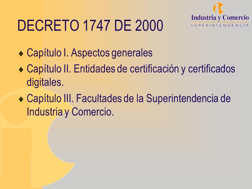 DECRETO 1747 DE 2000 Capítulo I. Aspectos generales