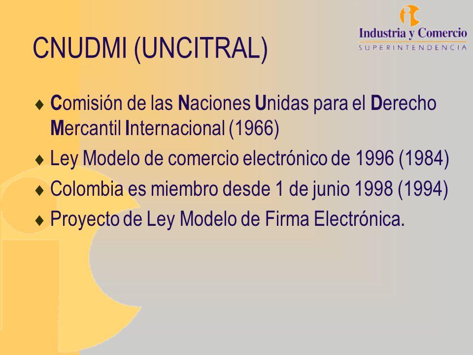 CNUDMI (UNCITRAL) Comisión de las Naciones Unidas para el Derecho Mercantil Internacional (1966) Ley Modelo de comercio electrónico de 1996 (1984)