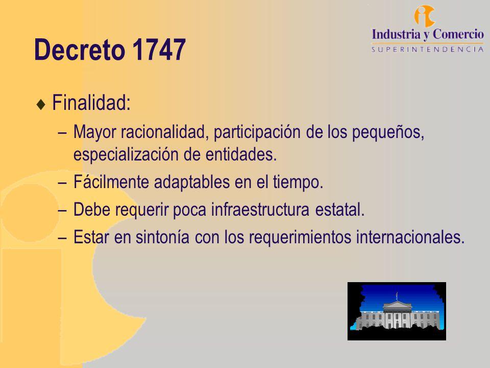 Decreto 1747 Finalidad: Mayor racionalidad, participación de los pequeños, especialización de entidades.