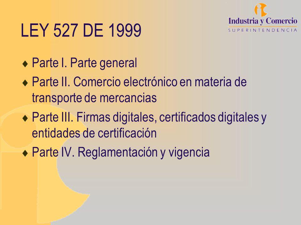 LEY 527 DE 1999 Parte I. Parte general