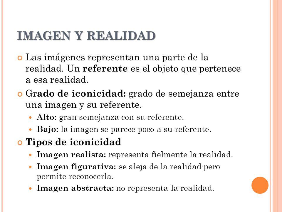 IMAGEN Y REALIDAD Las imágenes representan una parte de la realidad. Un referente es el objeto que pertenece a esa realidad.