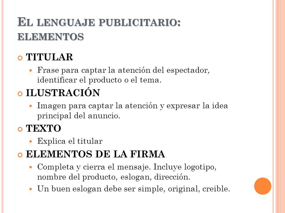 El lenguaje publicitario: elementos