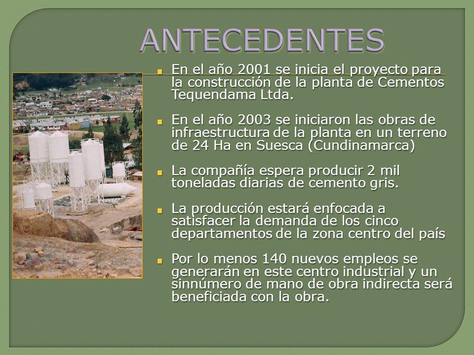 ANTECEDENTES En el año 2001 se inicia el proyecto para la construcción de la planta de Cementos Tequendama Ltda.