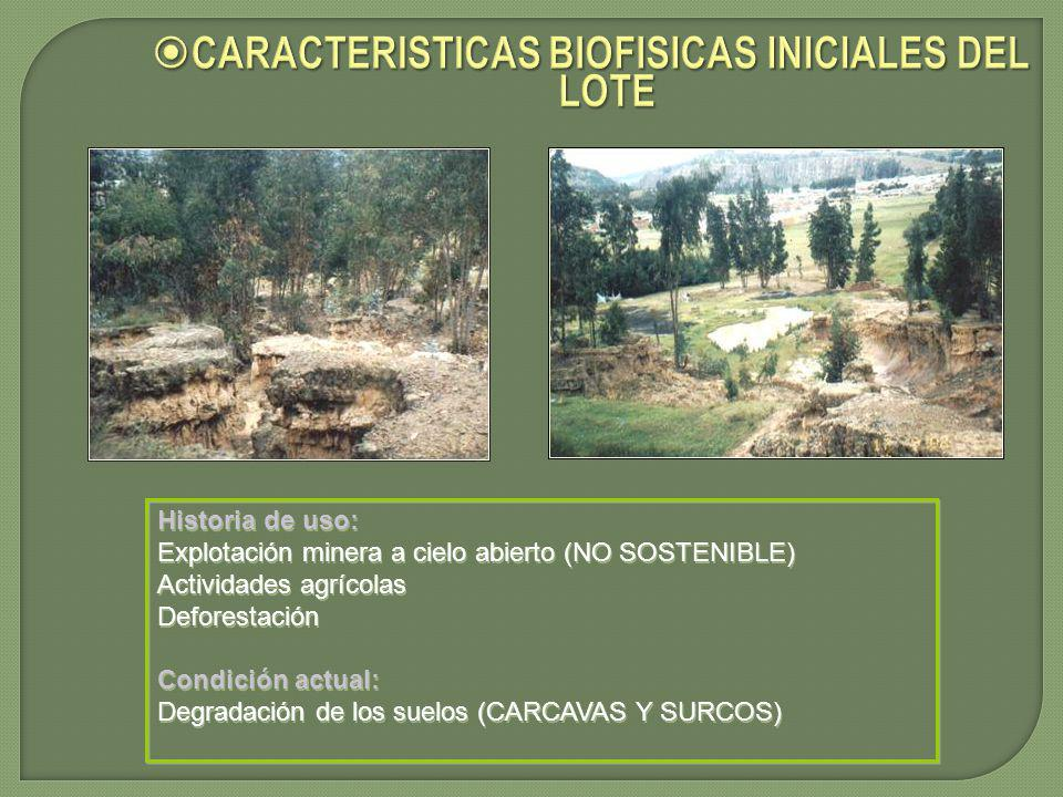 CARACTERISTICAS BIOFISICAS INICIALES DEL LOTE
