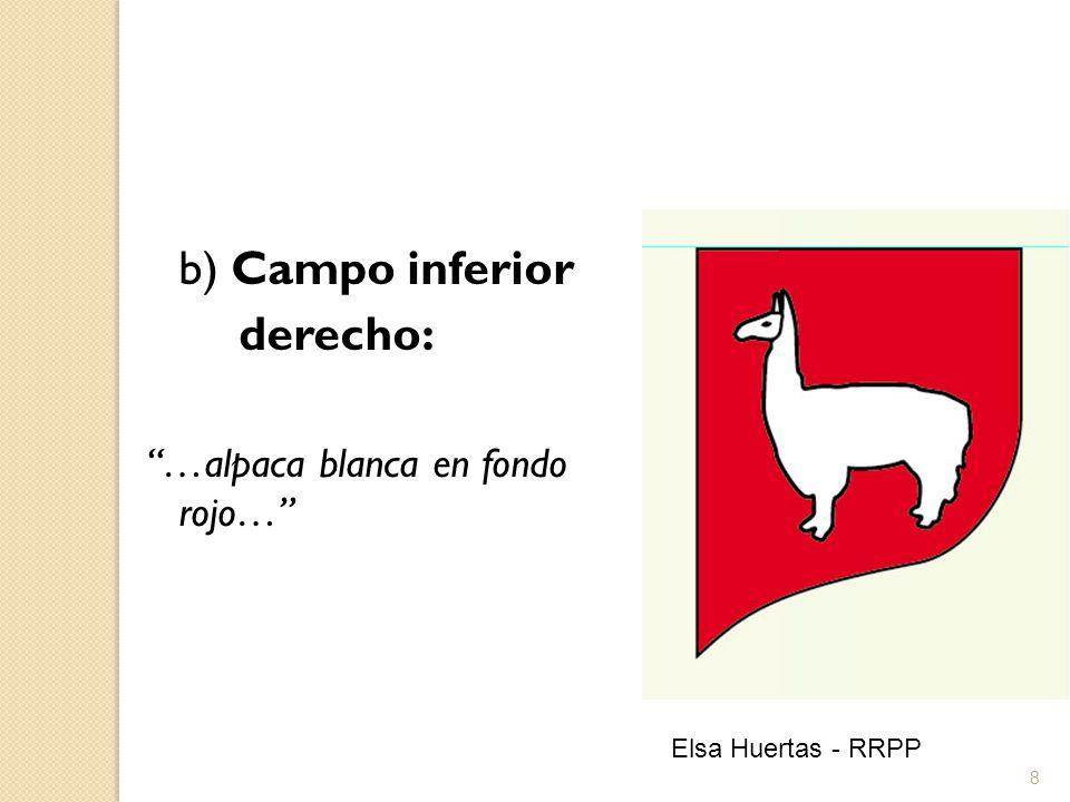 b) Campo inferior derecho: …alpaca blanca en fondo rojo…