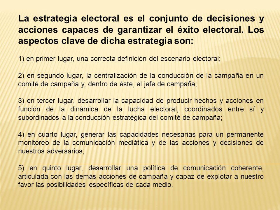 La estrategia electoral es el conjunto de decisiones y acciones capaces de garantizar el éxito electoral. Los aspectos clave de dicha estrategia son:
