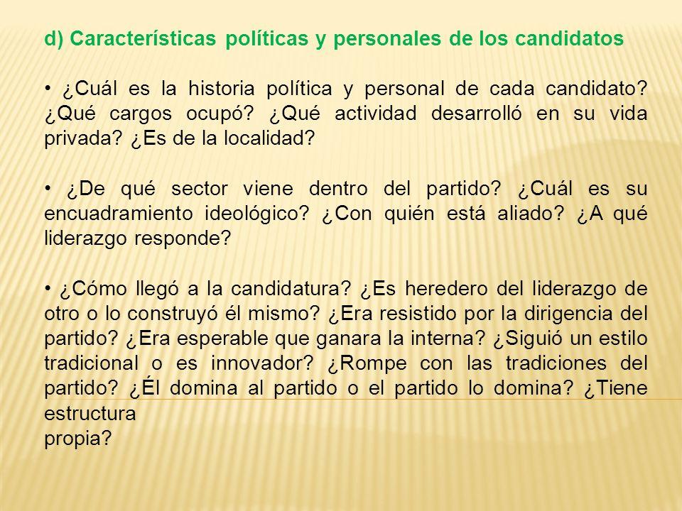 d) Características políticas y personales de los candidatos