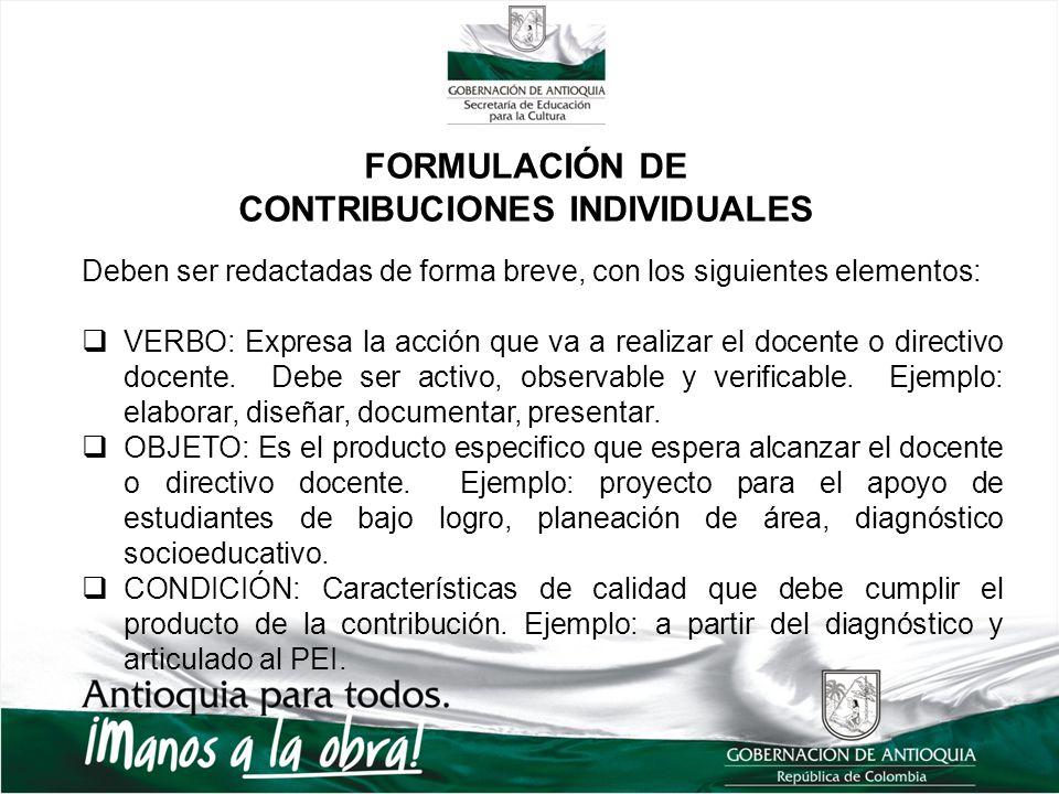 FORMULACIÓN DE CONTRIBUCIONES INDIVIDUALES