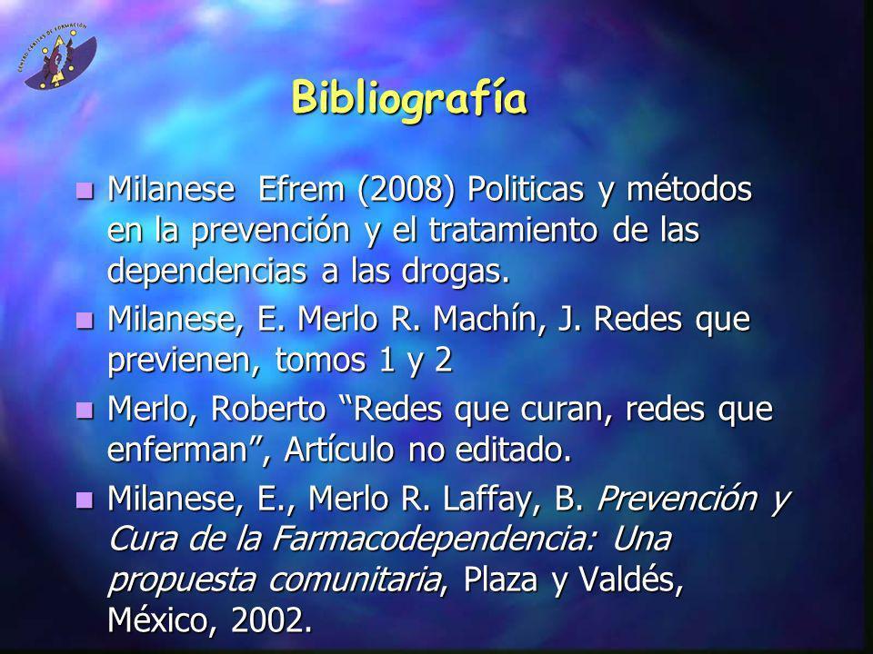 Bibliografía Milanese Efrem (2008) Politicas y métodos en la prevención y el tratamiento de las dependencias a las drogas.