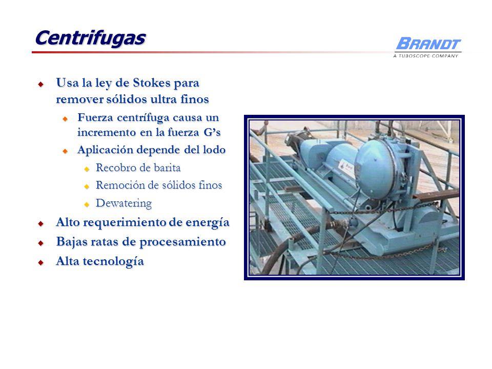 Centrifugas Usa la ley de Stokes para remover sólidos ultra finos