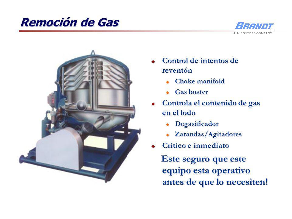 Remoción de Gas Control de intentos de reventón. Choke manifold. Gas buster. Controla el contenido de gas en el lodo.