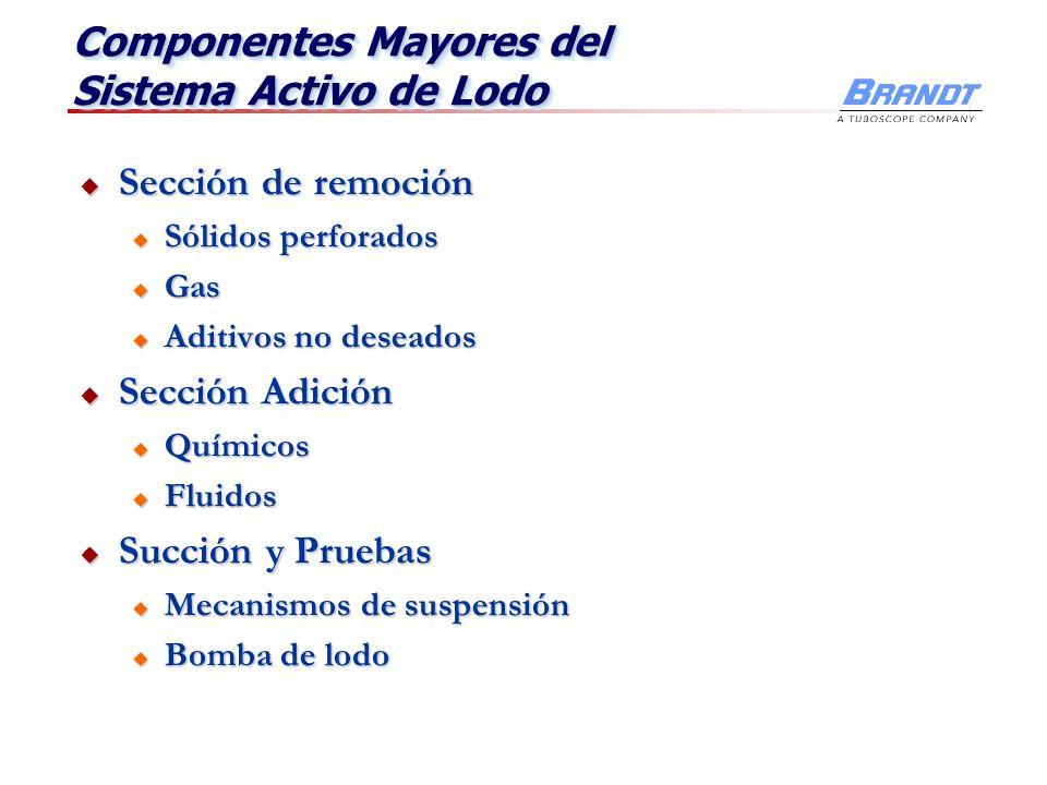 Componentes Mayores del Sistema Activo de Lodo