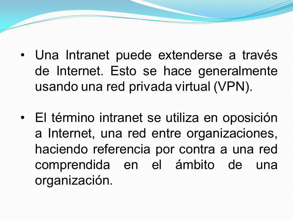 Una Intranet puede extenderse a través de Internet
