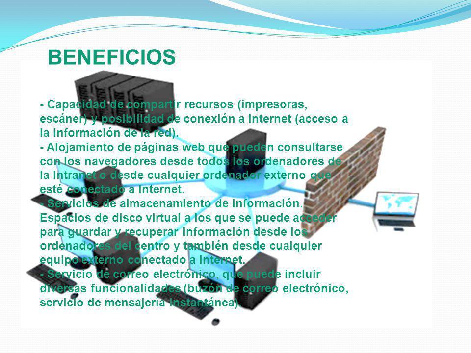 BENEFICIOS - Capacidad de compartir recursos (impresoras, escáner) y posibilidad de conexión a Internet (acceso a la información de la red).
