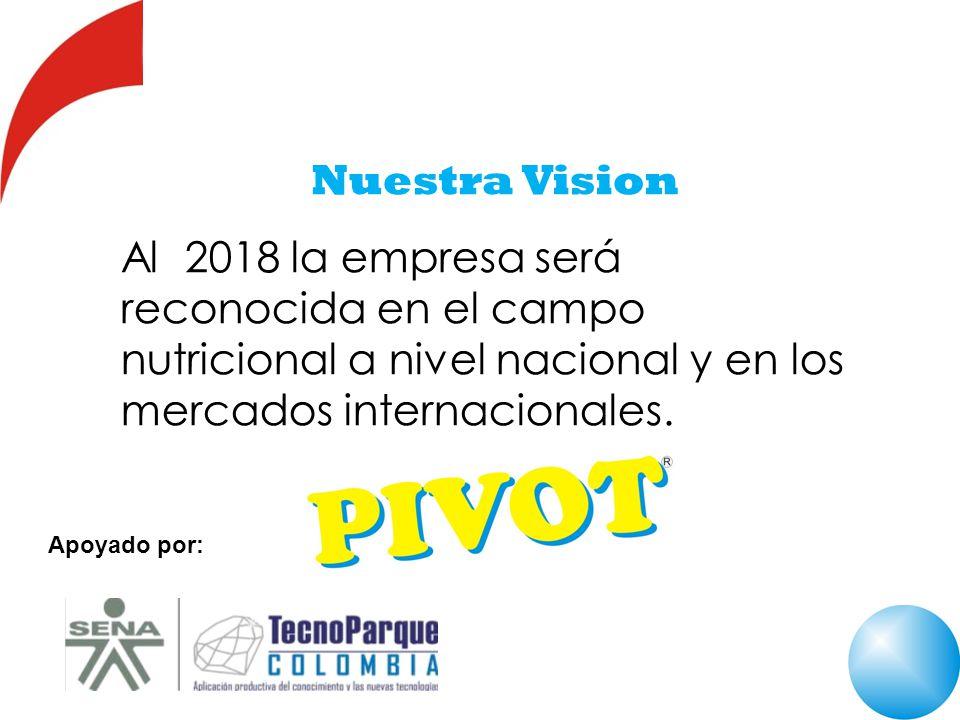 Nuestra Vision Al 2018 la empresa será reconocida en el campo nutricional a nivel nacional y en los mercados internacionales.