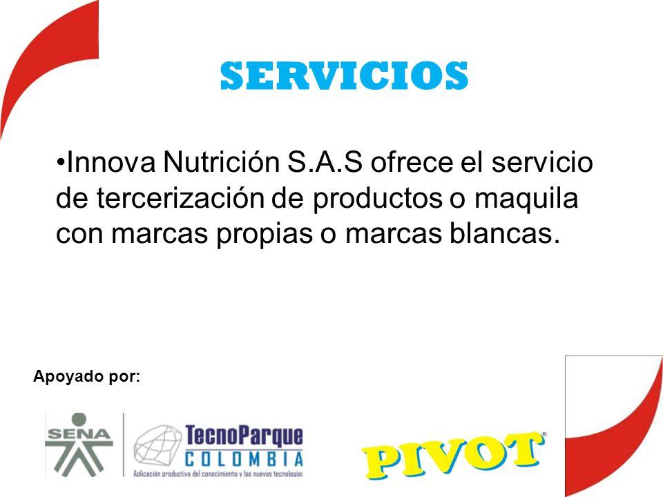 SERVICIOS Innova Nutrición S.A.S ofrece el servicio de tercerización de productos o maquila con marcas propias o marcas blancas.