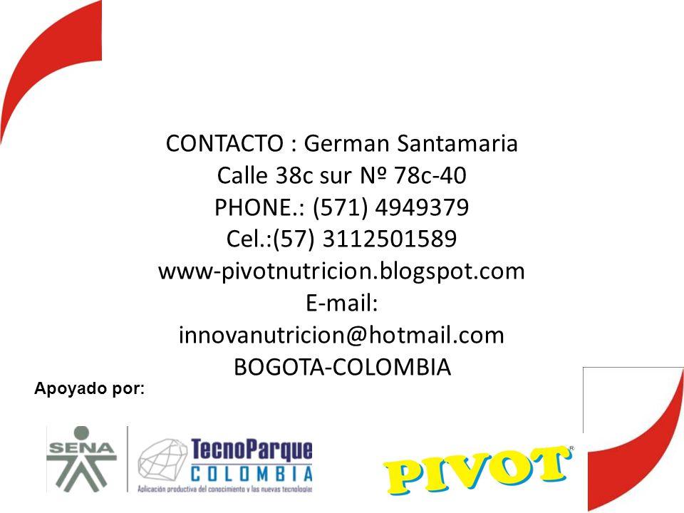 CONTACTO : German Santamaria Calle 38c sur Nº 78c-40