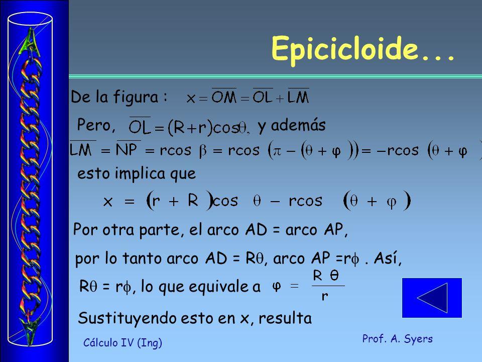 Epicicloide... De la figura : Pero, y además esto implica que