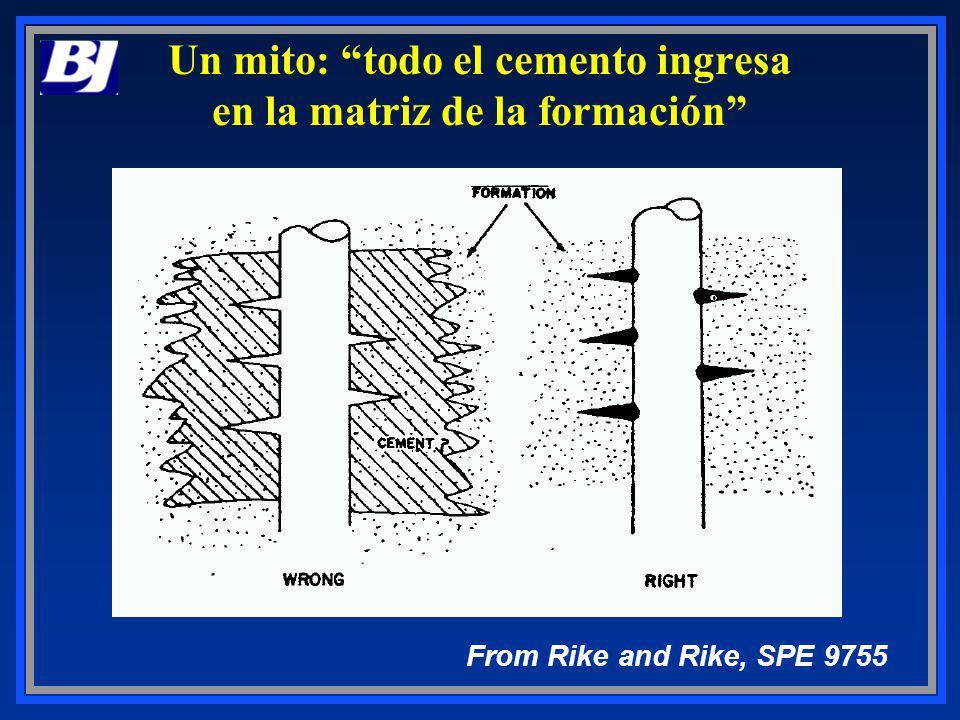 Un mito: todo el cemento ingresa en la matriz de la formación