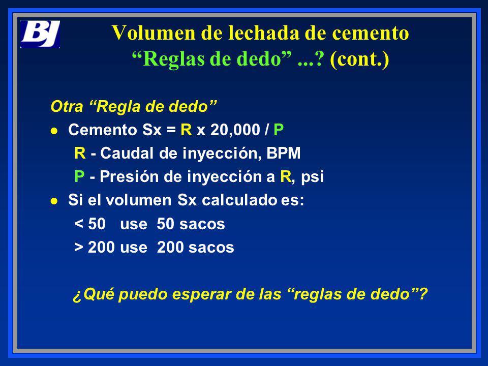 Volumen de lechada de cemento Reglas de dedo ... (cont.)