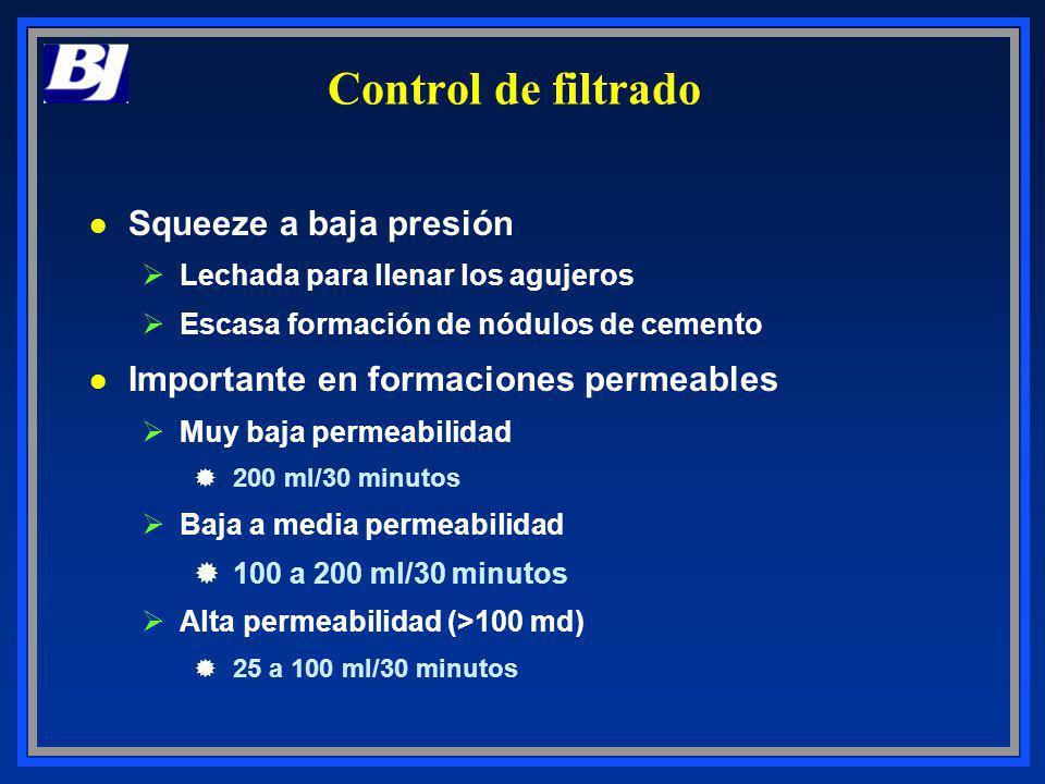 Control de filtrado Squeeze a baja presión