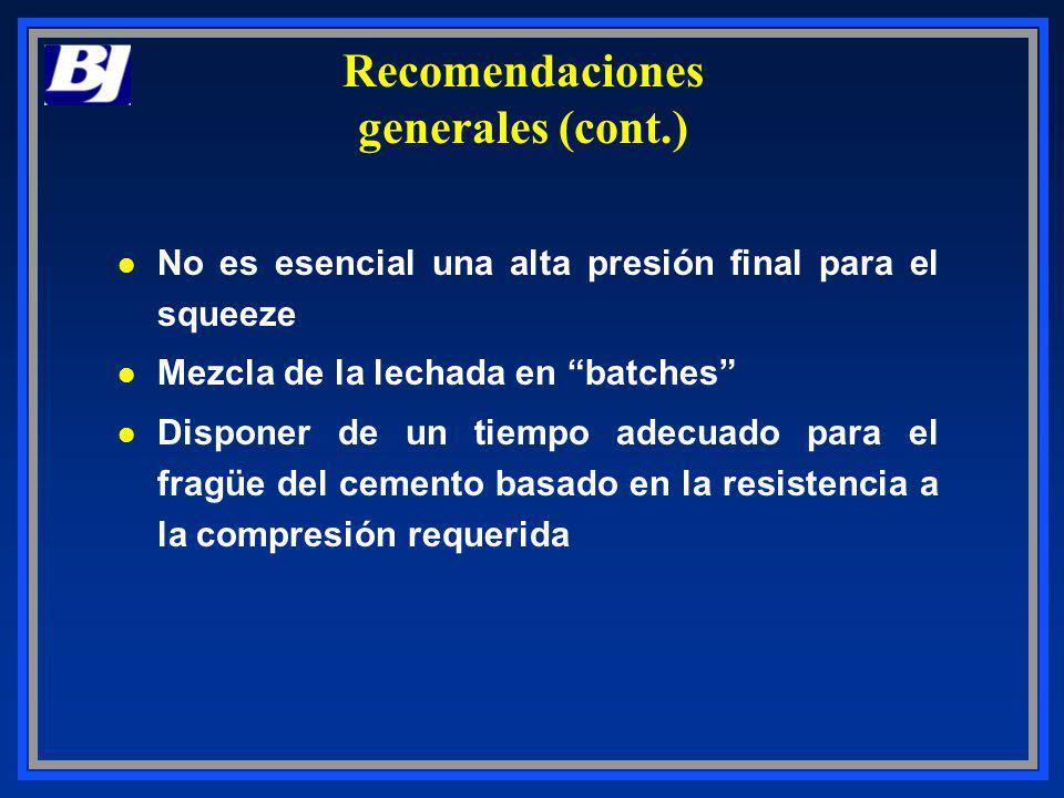 Recomendaciones generales (cont.)