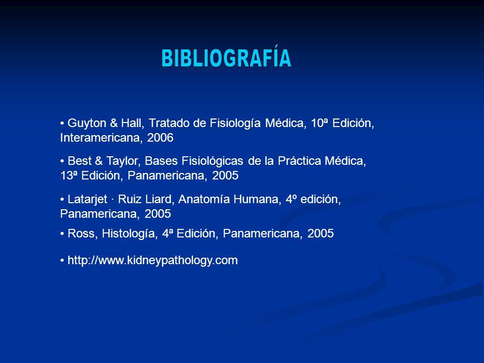 BIBLIOGRAFÍA Guyton & Hall, Tratado de Fisiología Médica, 10ª Edición, Interamericana, 2006.