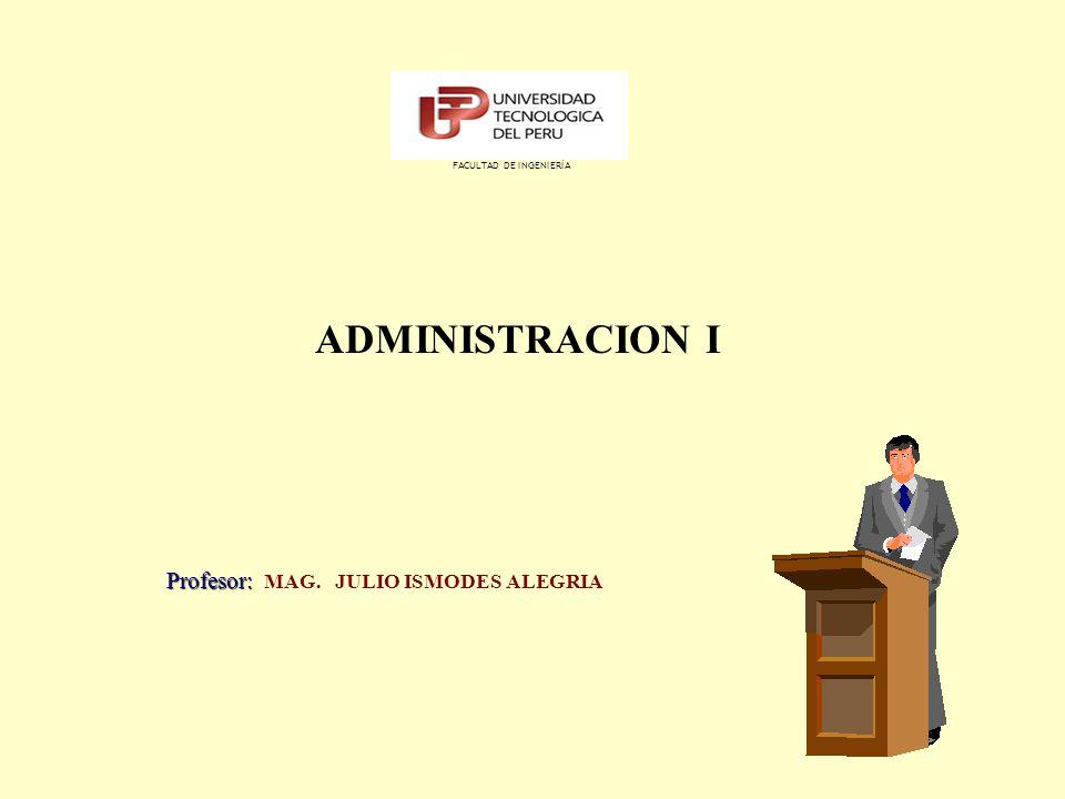 ADMINISTRACION I Profesor: MAG. JULIO ISMODES ALEGRIA