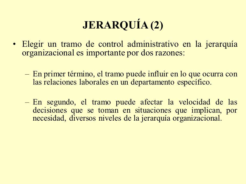 JERARQUÍA (2) Elegir un tramo de control administrativo en la jerarquía organizacional es importante por dos razones: