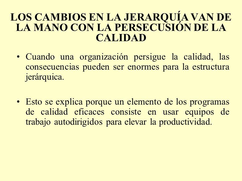 LOS CAMBIOS EN LA JERARQUÍA VAN DE LA MANO CON LA PERSECUSIÓN DE LA CALIDAD